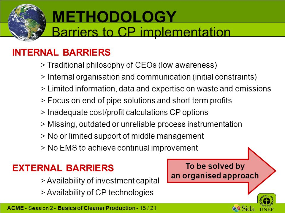 METHODOLOGY Barriers to CP implementation INTERNAL BARRIERS