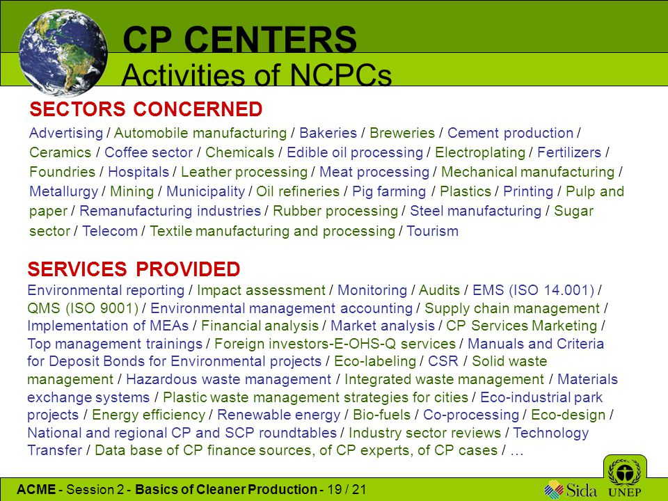 CP CENTERS Activities of NCPCs SECTORS CONCERNED SERVICES PROVIDED