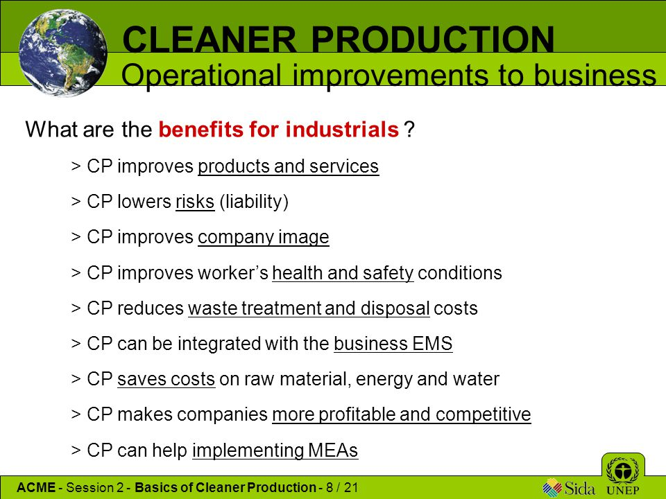 CLEANER PRODUCTION Operational improvements to business
