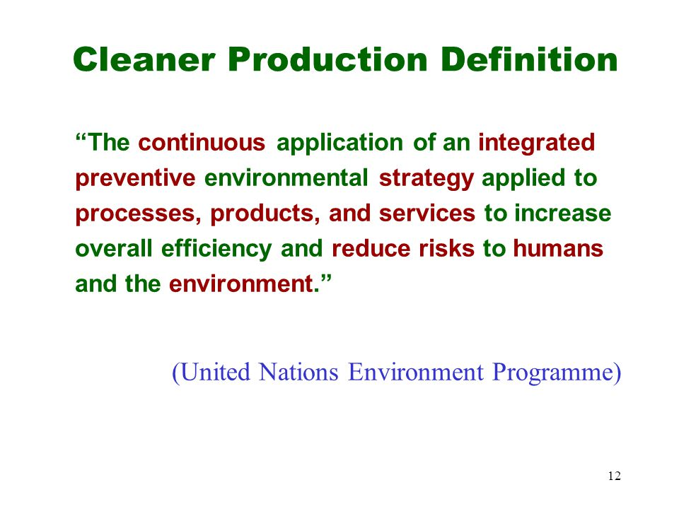 Cleaner Production Definition