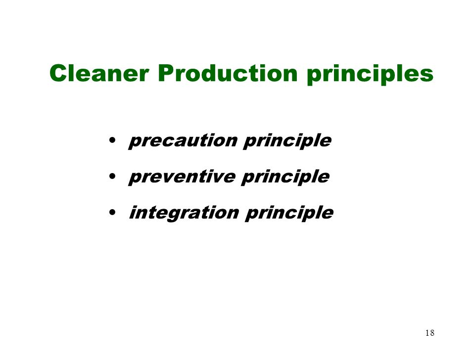 Cleaner Production principles