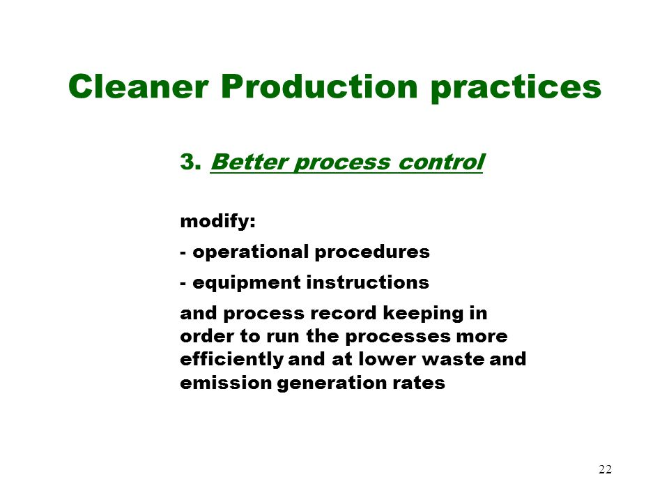 Cleaner Production practices