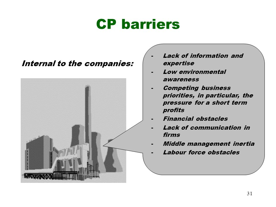 CP barriers Internal to the companies:
