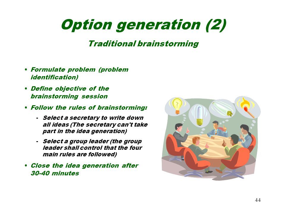 Option generation (2) Traditional brainstorming