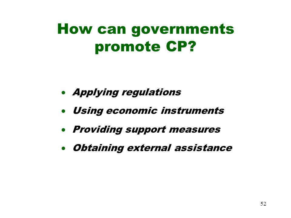How can governments promote CP