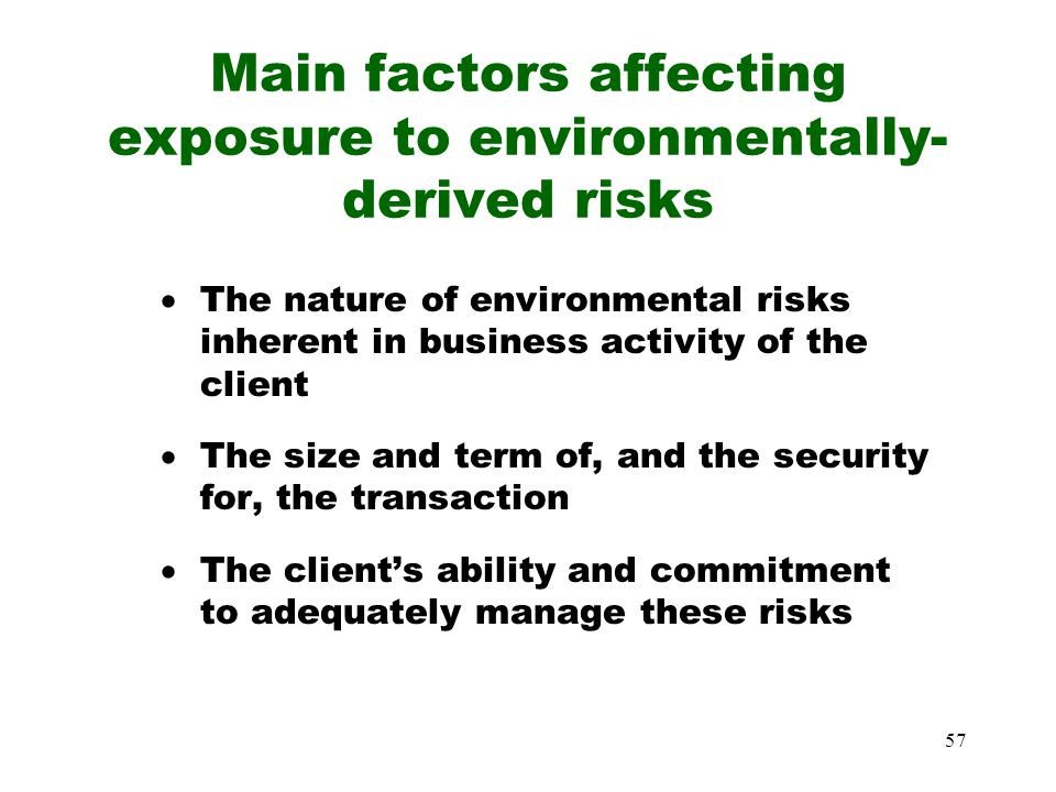 Main factors affecting exposure to environmentally-derived risks
