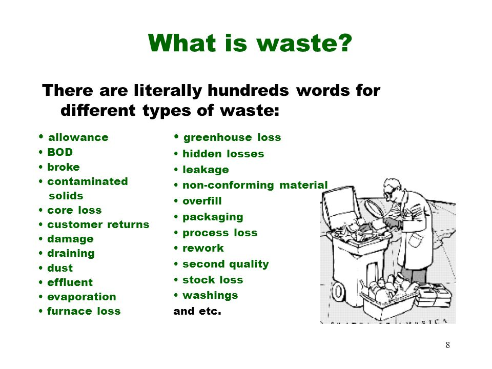 What is waste There are literally hundreds words for different types of waste: allowance. BOD. broke.