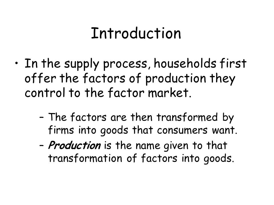 Introduction In the supply process, households first offer the factors of production they control to the factor market.
