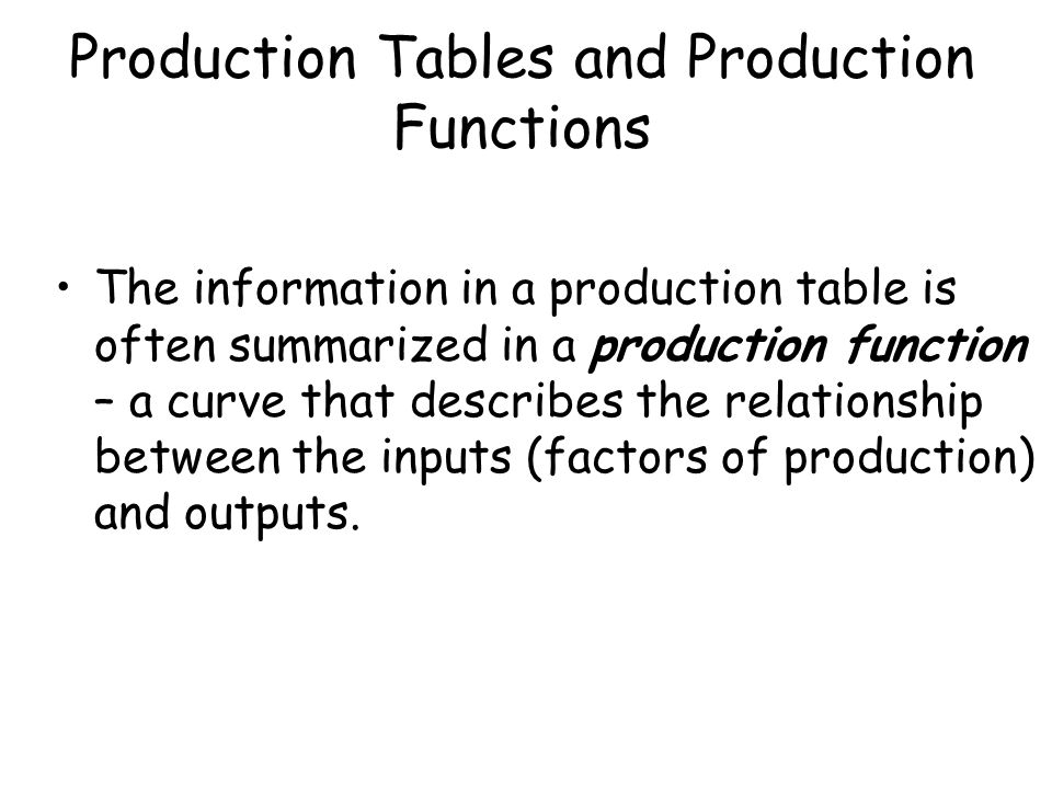 Production Tables and Production Functions
