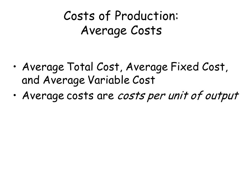 Costs of Production: Average Costs