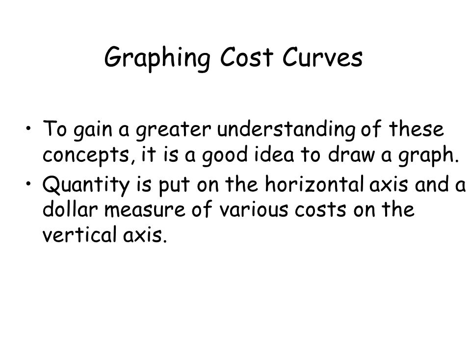 Graphing Cost Curves To gain a greater understanding of these concepts, it is a good idea to draw a graph.