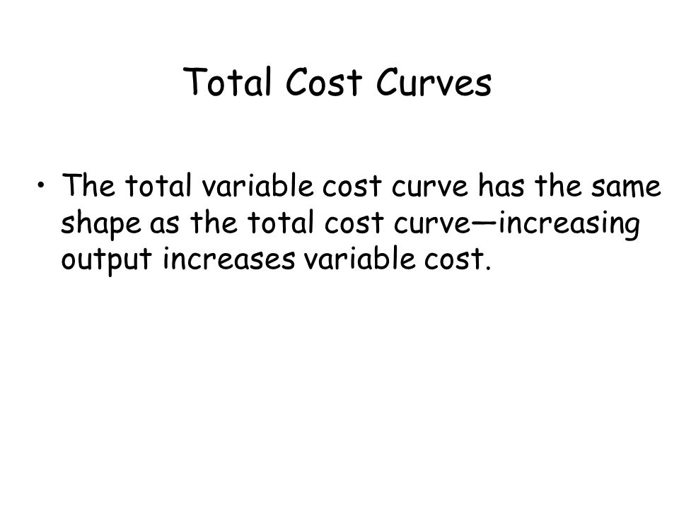 Total Cost Curves The total variable cost curve has the same shape as the total cost curve—increasing output increases variable cost.