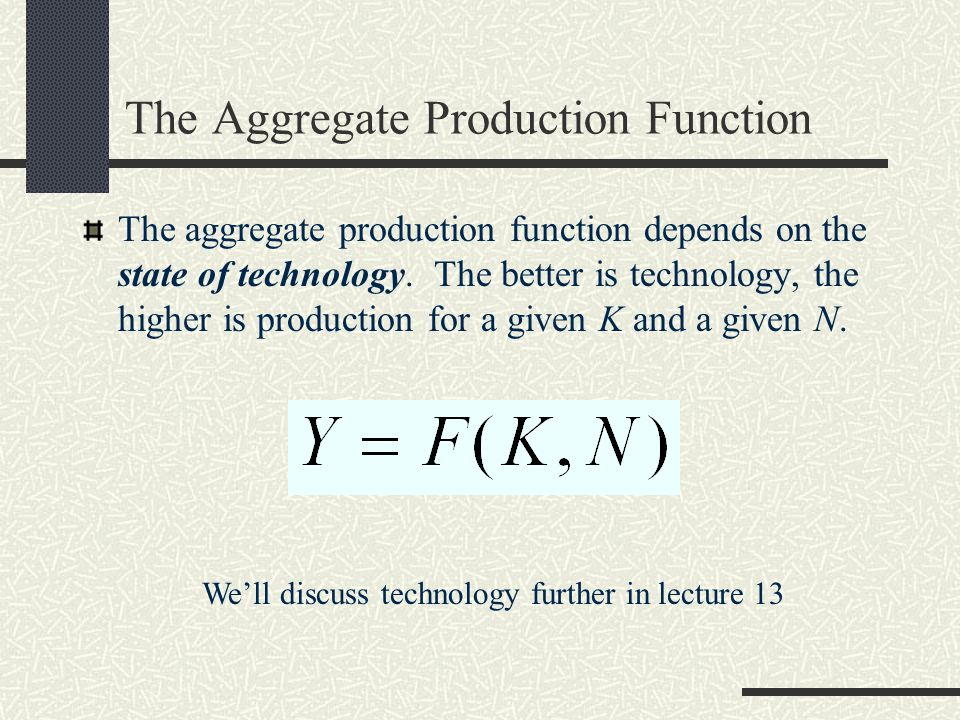 The Aggregate Production Function