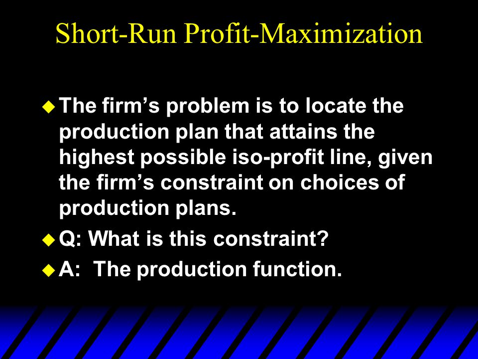 Short-Run Profit-Maximization