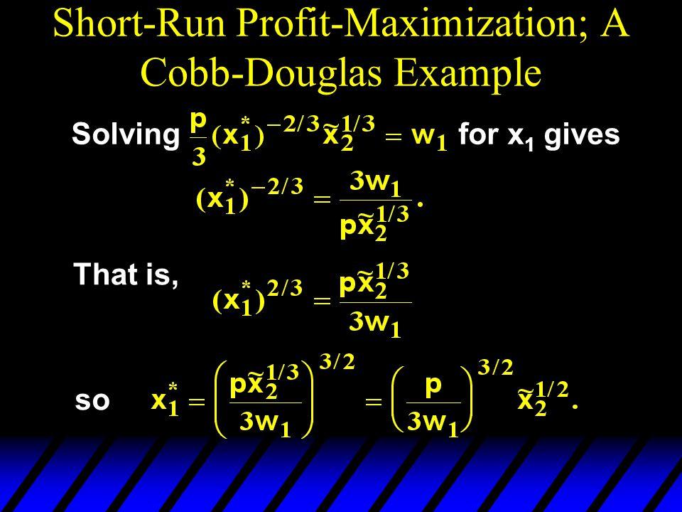 Short-Run Profit-Maximization; A Cobb-Douglas Example