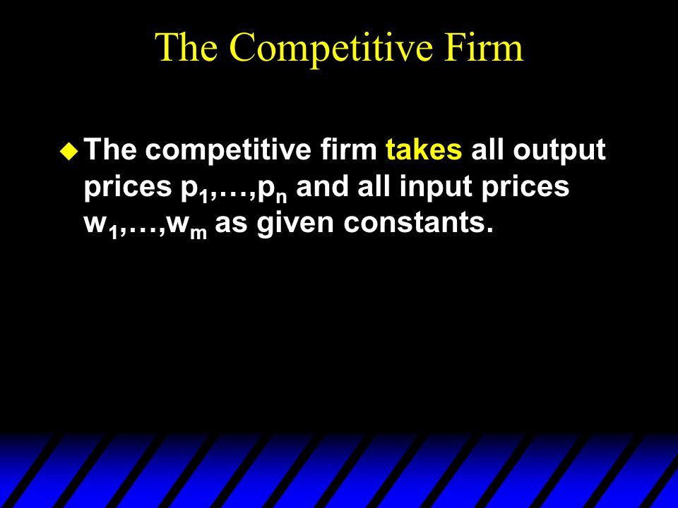 The Competitive Firm The competitive firm takes all output prices p1,…,pn and all input prices w1,…,wm as given constants.