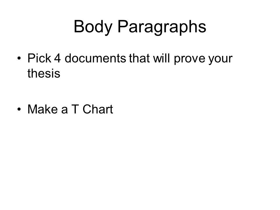 Body Paragraphs Pick 4 documents that will prove your thesis
