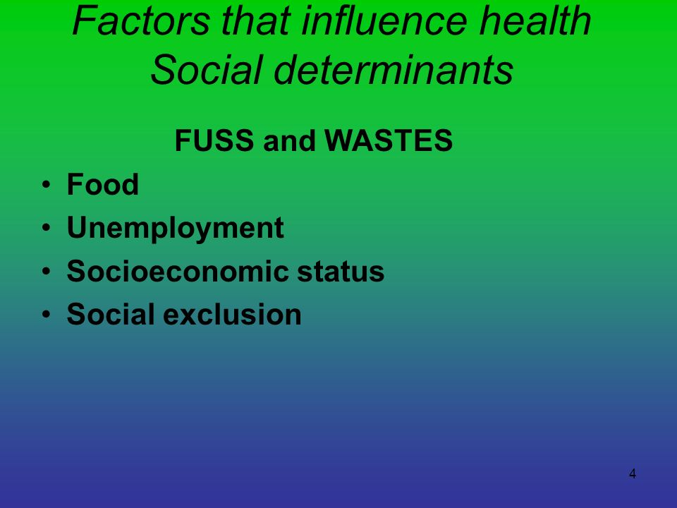 Factors that influence health Social determinants