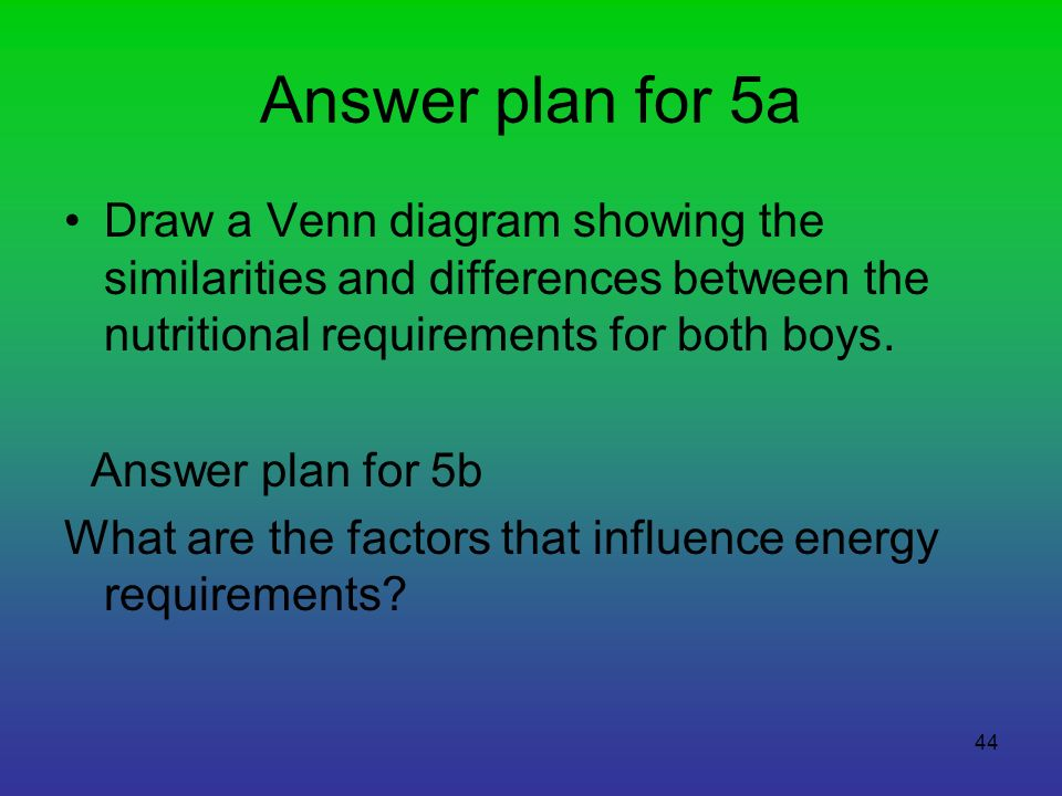 Answer plan for 5a Draw a Venn diagram showing the similarities and differences between the nutritional requirements for both boys.