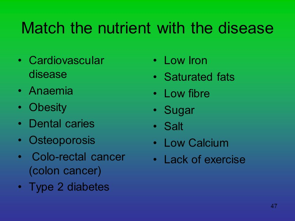 Match the nutrient with the disease