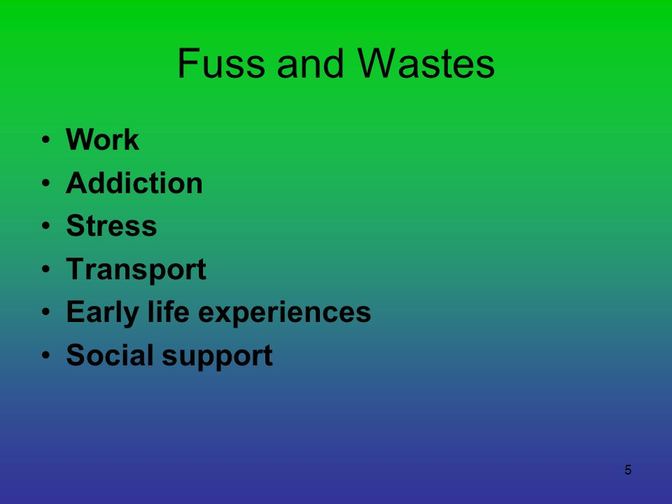 Fuss and Wastes Work Addiction Stress Transport Early life experiences