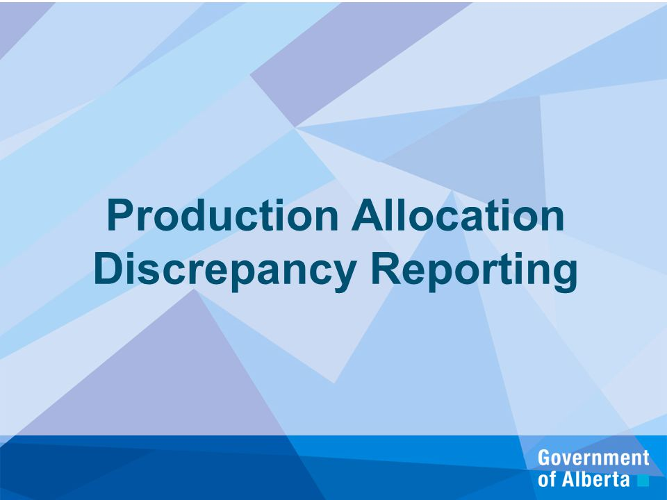 Production Allocation Discrepancy Reporting
