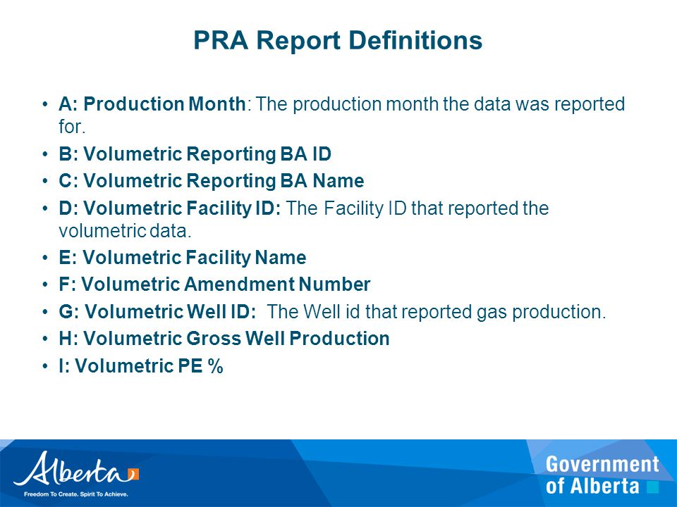 PRA Report Definitions