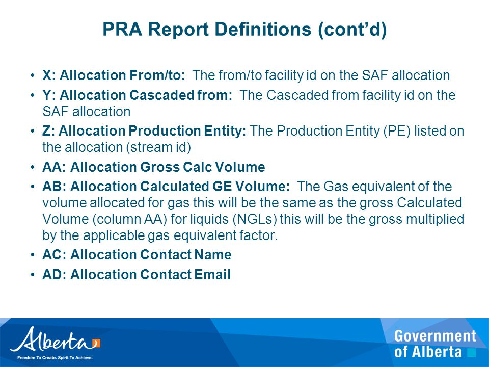 PRA Report Definitions (cont'd)