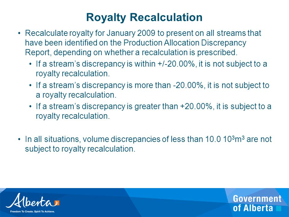 Royalty Recalculation