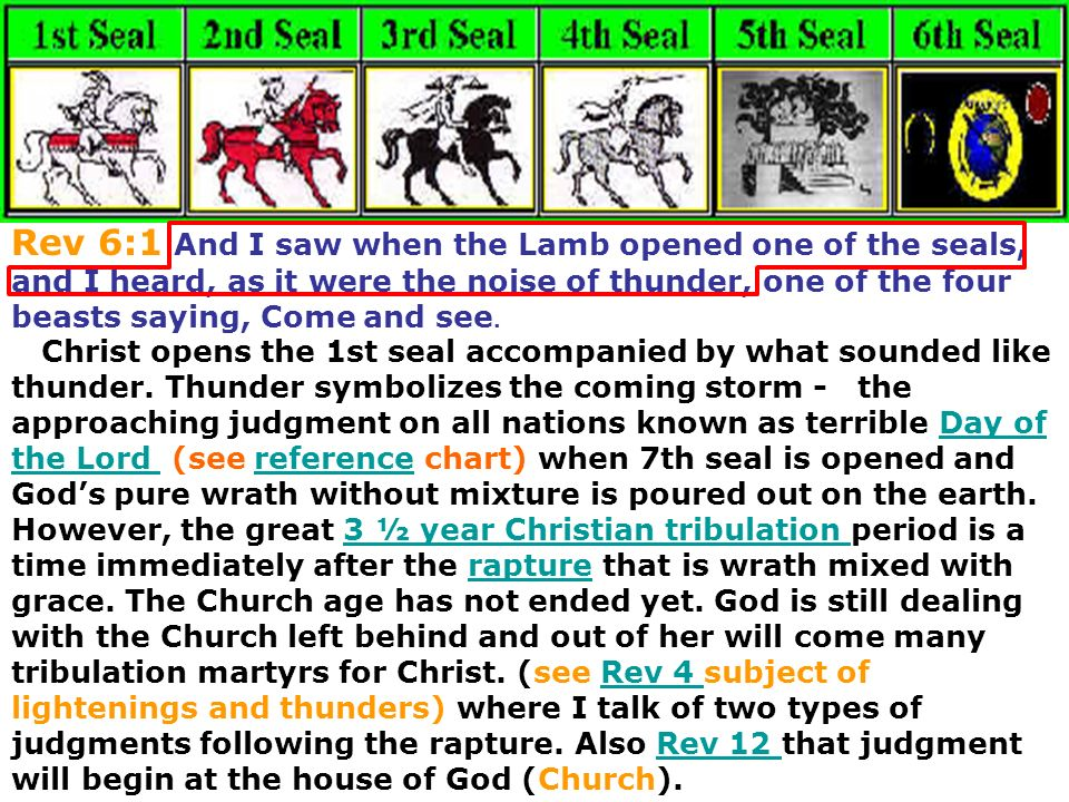 Rev 6:1 And I saw when the Lamb opened one of the seals, and I heard, as it were the noise of thunder, one of the four beasts saying, Come and see.