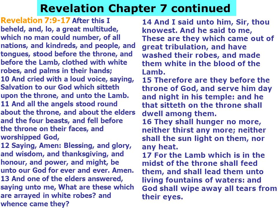 Revelation Chapter 7 continued