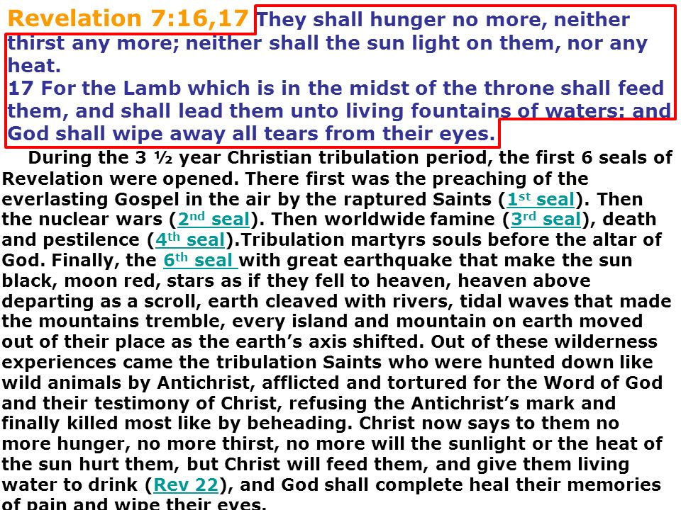 Revelation 7:16,17 They shall hunger no more, neither thirst any more; neither shall the sun light on them, nor any heat.