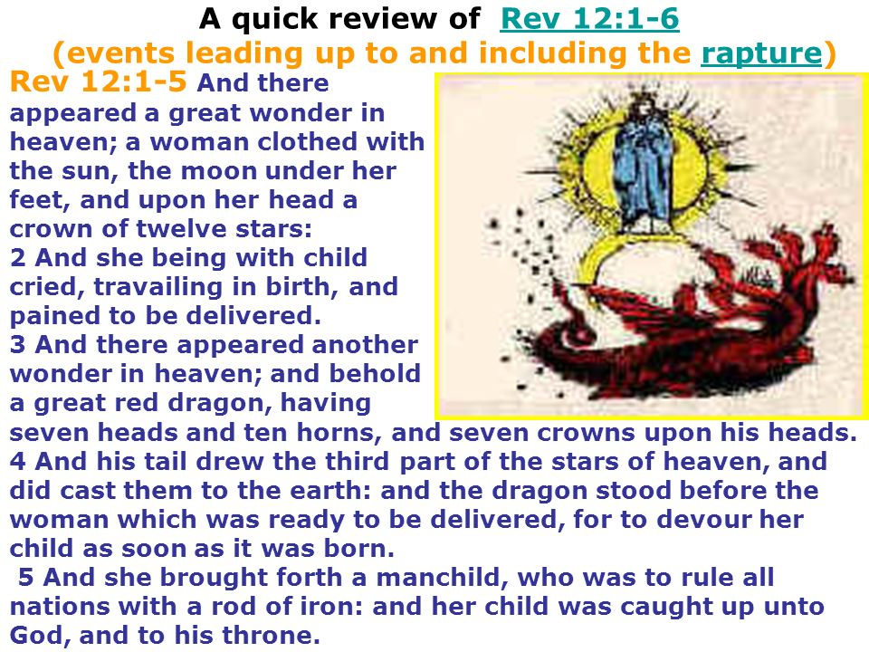 A quick review of Rev 12:1-6 (events leading up to and including the rapture)
