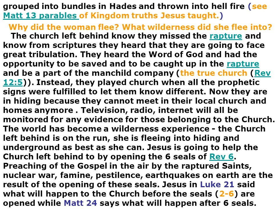 grouped into bundles in Hades and thrown into hell fire (see Matt 13 parables of Kingdom truths Jesus taught.)