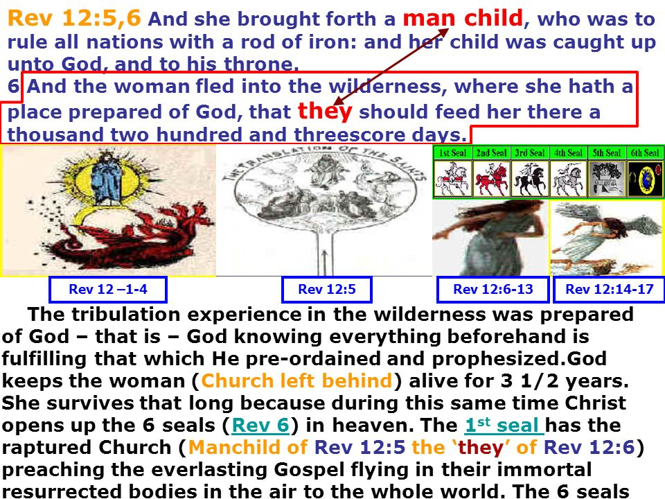 Rev 12:5,6 And she brought forth a man child, who was to rule all nations with a rod of iron: and her child was caught up unto God, and to his throne.