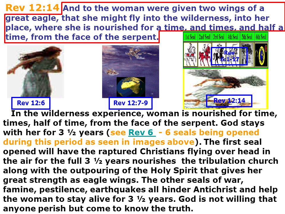 Rev 12:14 And to the woman were given two wings of a great eagle, that she might fly into the wilderness, into her place, where she is nourished for a time, and times, and half a time, from the face of the serpent.