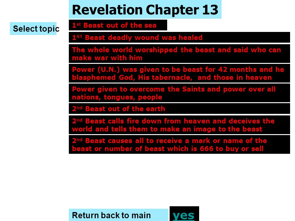 Revelation Chapter 13 yes Select topic Return back to main menu