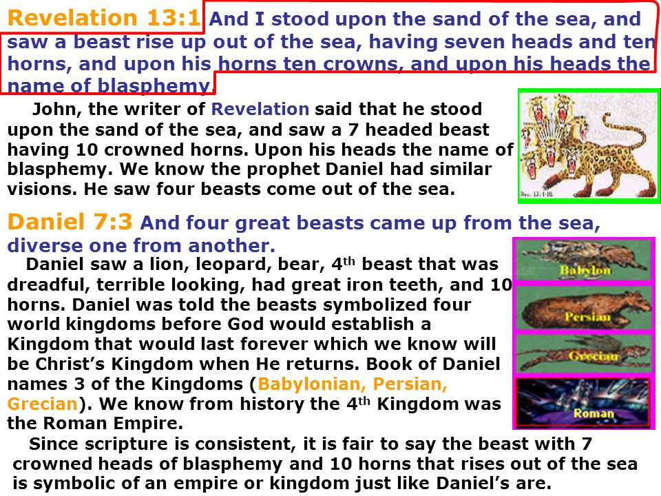 Revelation 13:1 And I stood upon the sand of the sea, and saw a beast rise up out of the sea, having seven heads and ten horns, and upon his horns ten crowns, and upon his heads the name of blasphemy.