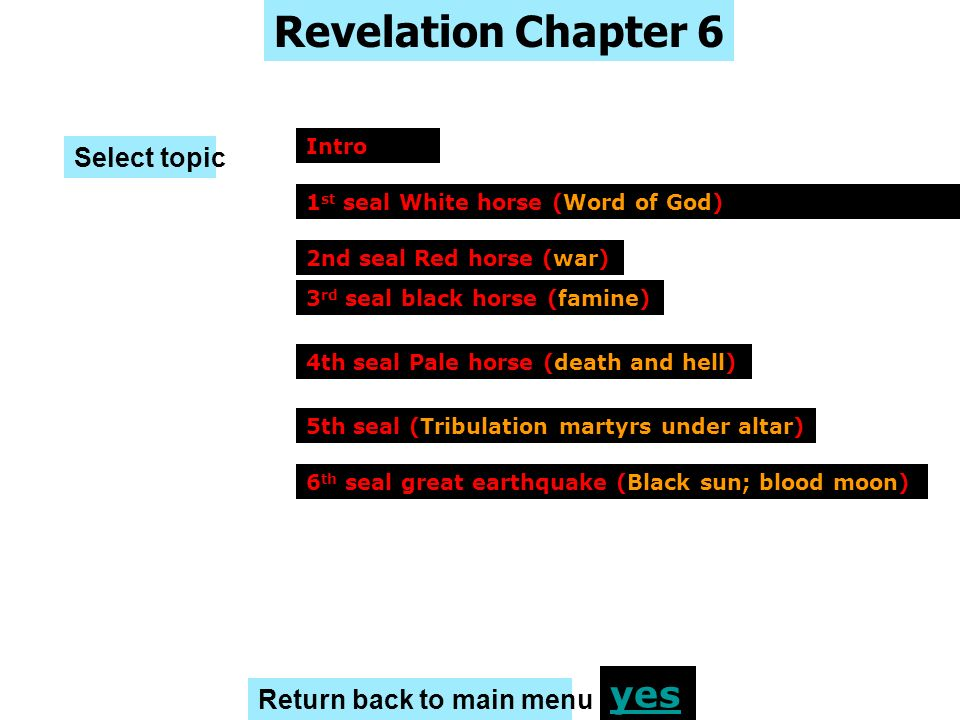 Revelation Chapter 6 yes Select topic Return back to main menu Intro
