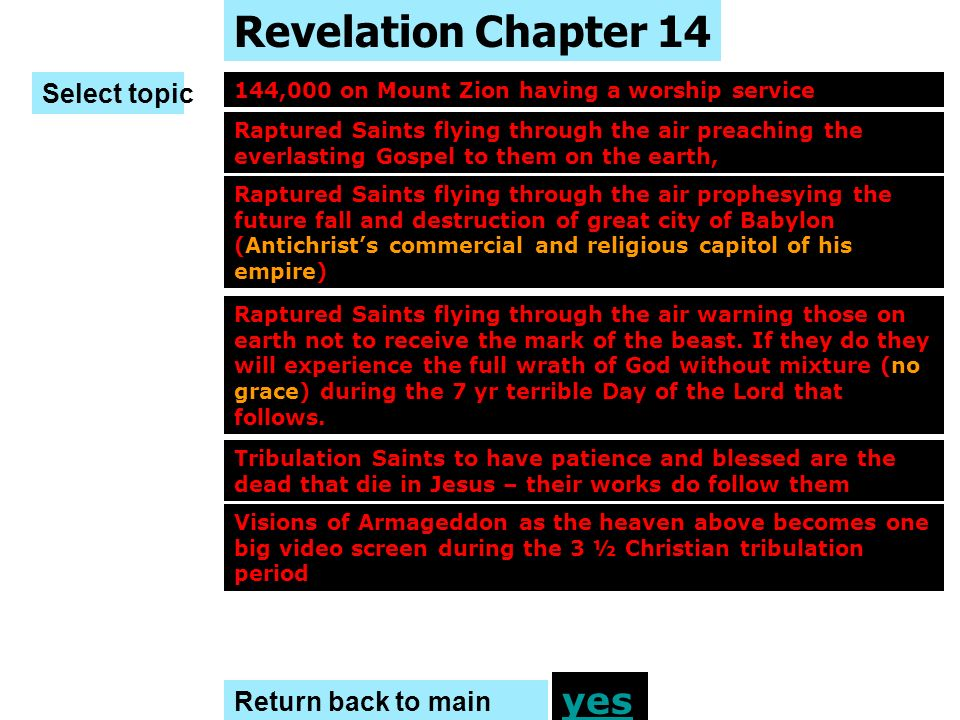 Revelation Chapter 14 yes Select topic Return back to main menu