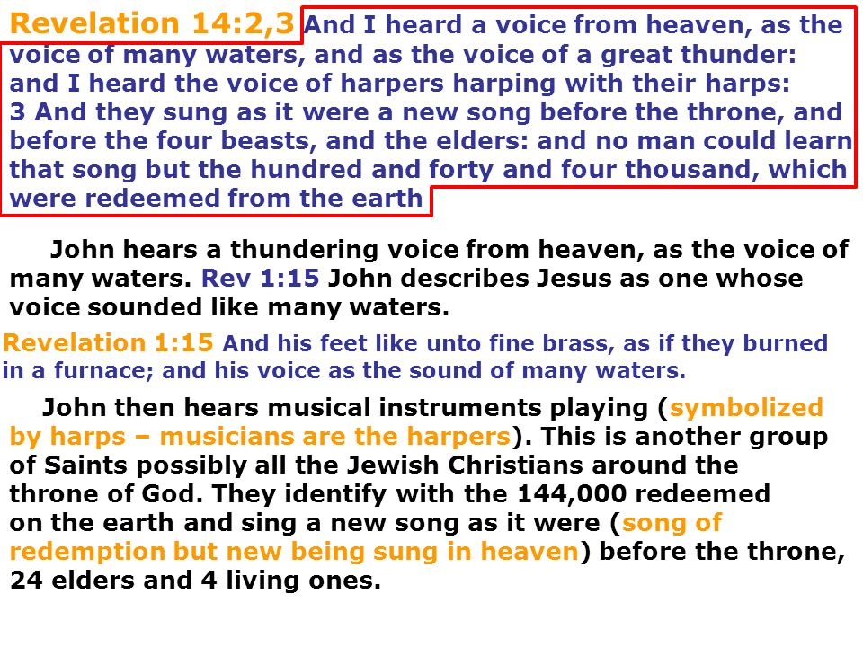 Revelation 14:2,3 And I heard a voice from heaven, as the voice of many waters, and as the voice of a great thunder: and I heard the voice of harpers harping with their harps: