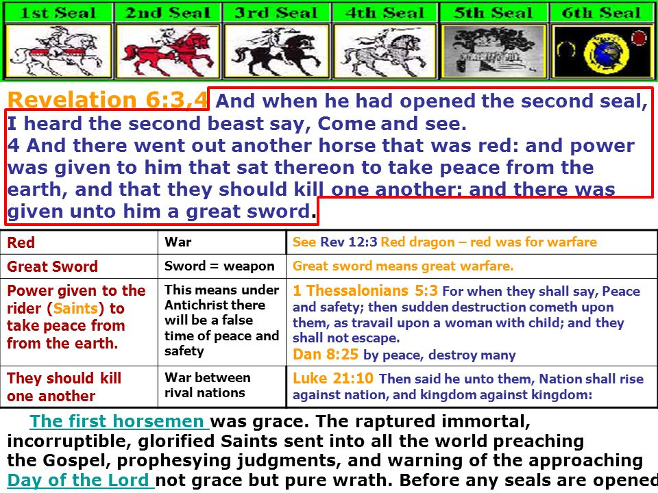 Revelation 6:3,4 And when he had opened the second seal, I heard the second beast say, Come and see.