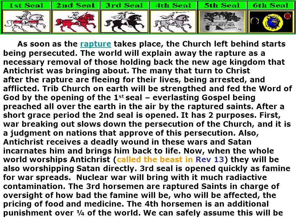 As soon as the rapture takes place, the Church left behind starts being persecuted.