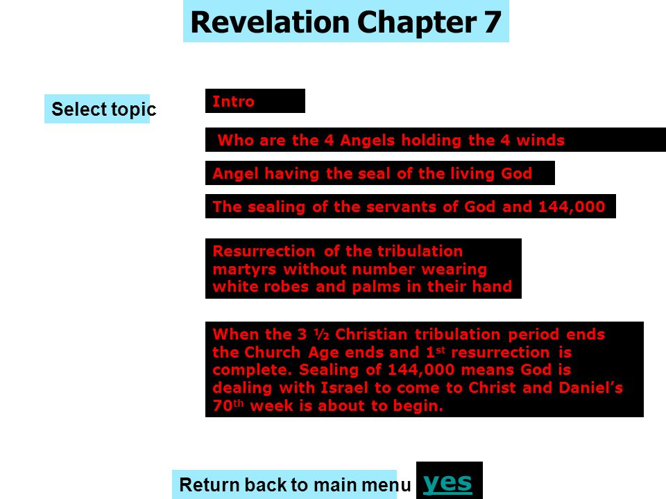 Revelation Chapter 7 yes Select topic Return back to main menu Intro