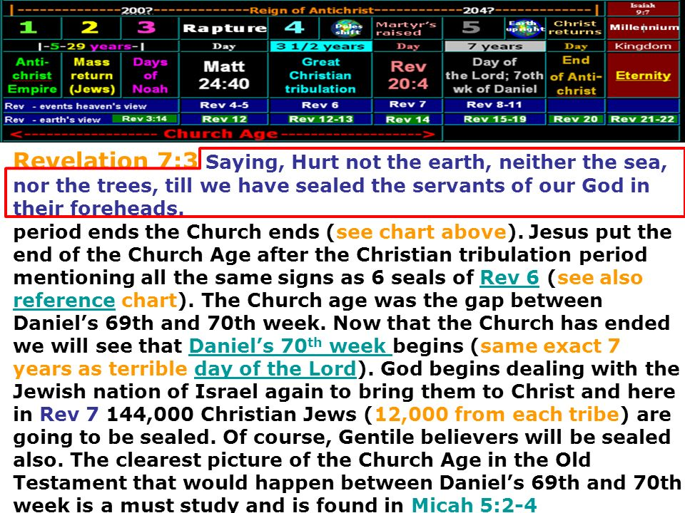 Revelation 7:3 Saying, Hurt not the earth, neither the sea, nor the trees, till we have sealed the servants of our God in their foreheads.