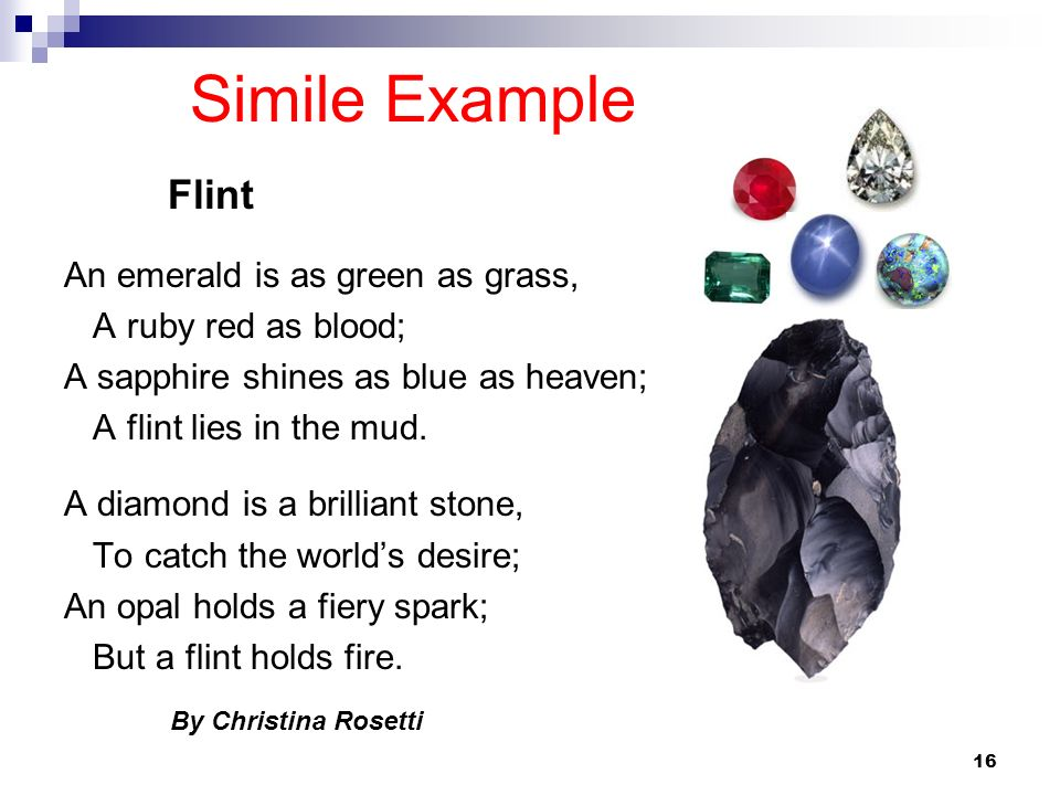 Simile Example An emerald is as green as grass, A ruby red as blood;