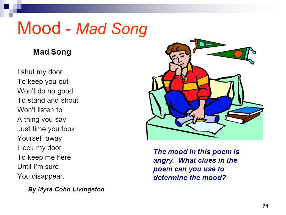 Mood - Mad Song Mad Song I shut my door To keep you out