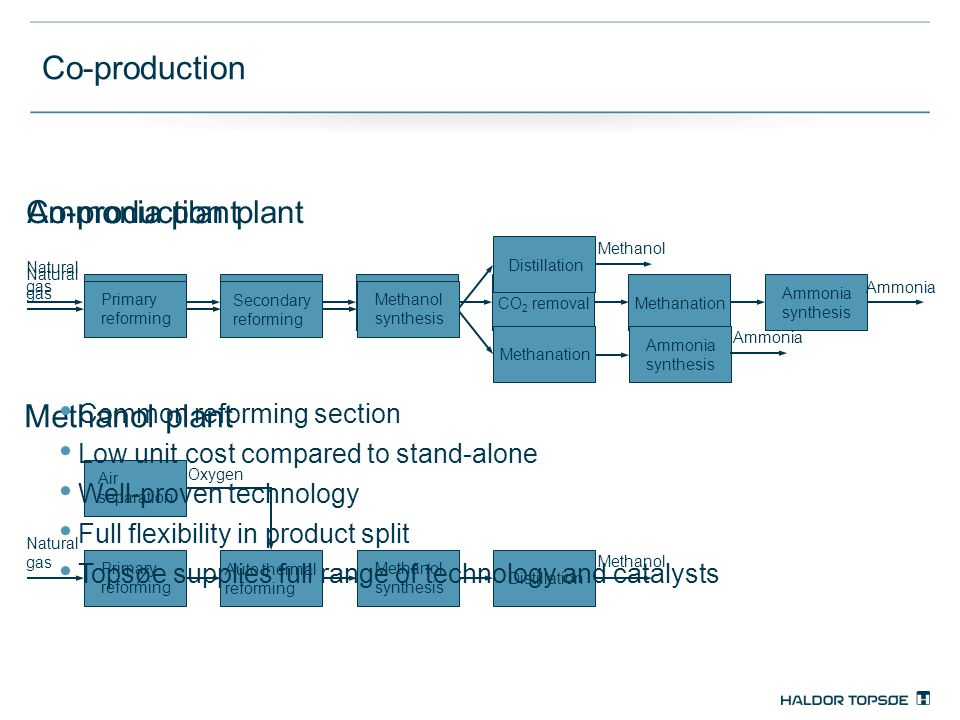 Co-production Ammonia plant Co-production plant Methanol plant