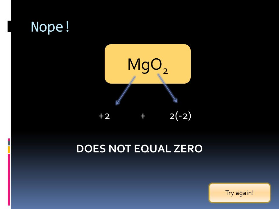 Nope! MgO2 +2 + 2(-2) DOES NOT EQUAL ZERO Try again!