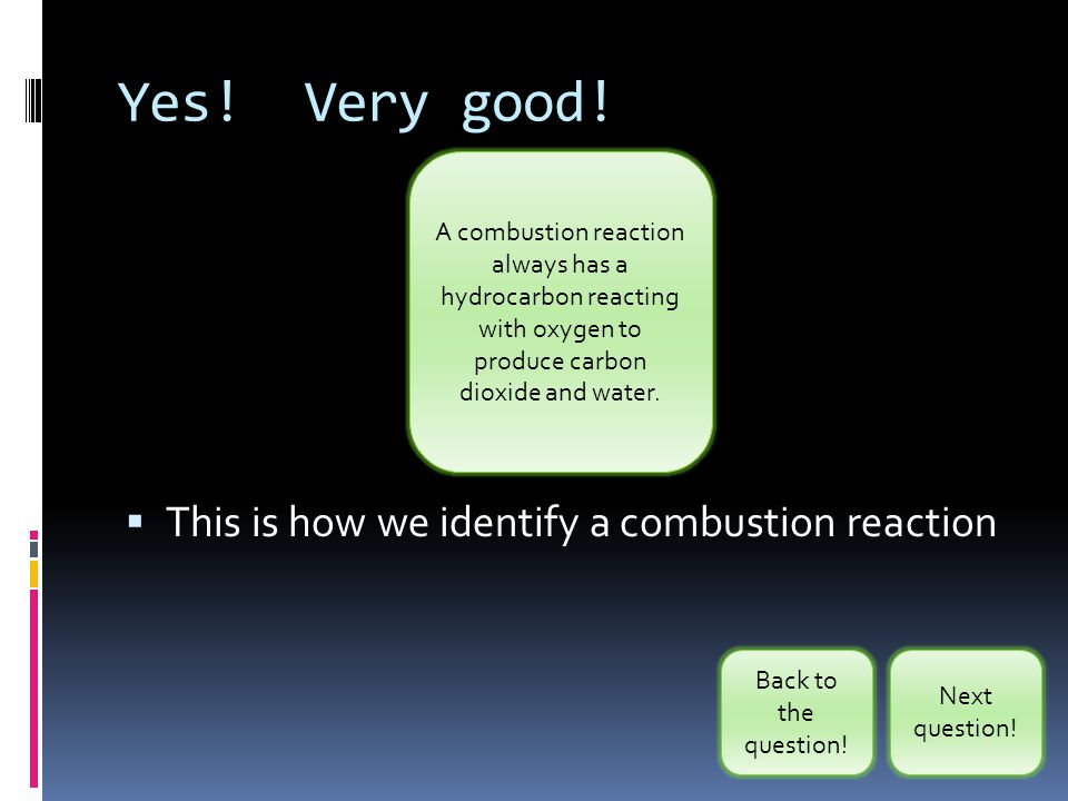 Yes! Very good! This is how we identify a combustion reaction